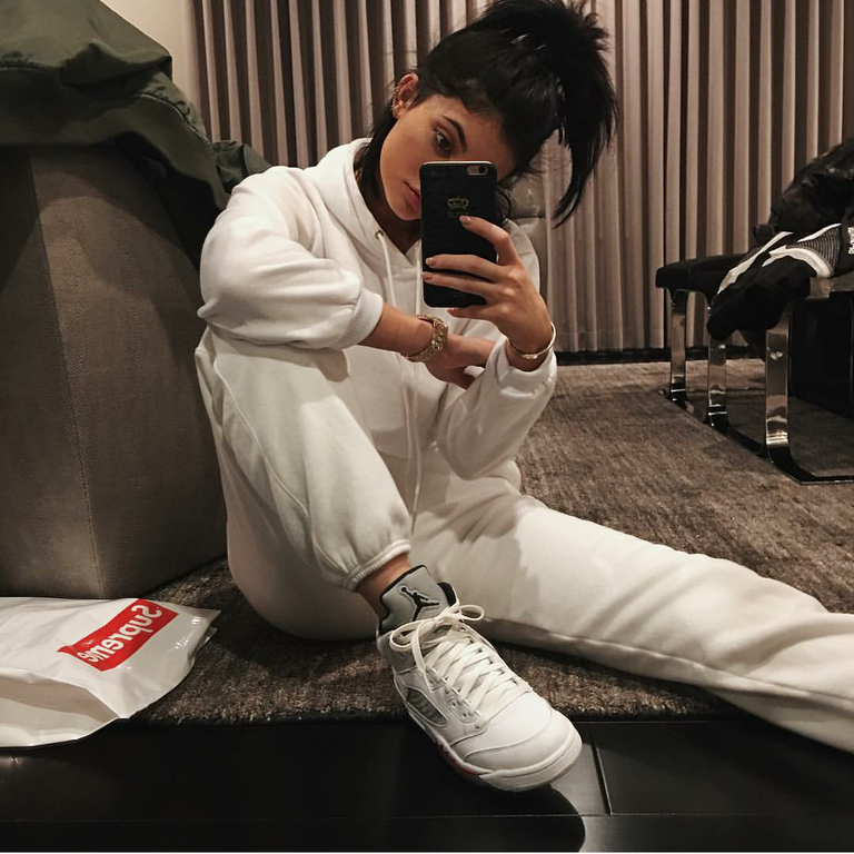 Kylie Jenner was all about her sweats in Air Jordan 5 Retro 'Supreme.'