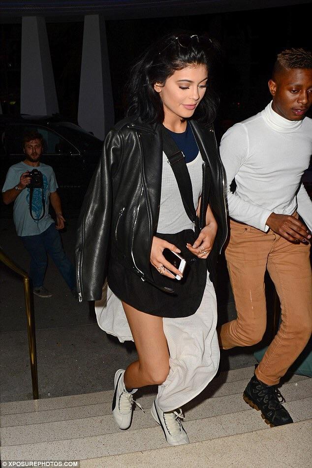 Kylie Jenner hit the festivities in Miami for Art Basel wearing Rihanna x Puma Eskiva Hi Sneakers.