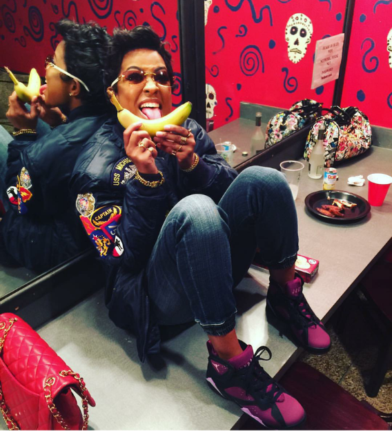 We're not quite sure what Dej Loaf was doing with this banana...luckily we were paying more attention to her Jays.