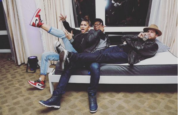 "CNK fave Zendaya got a lil crazy with friends in Jordan 1 Reto ""Chicago""."