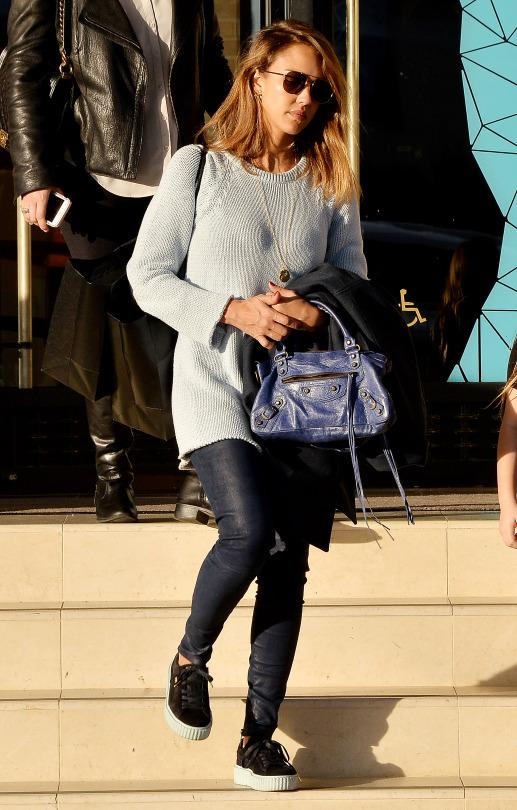 Jessica Alba was spotted out and about sporting her Puma x Rihanna Creepers.