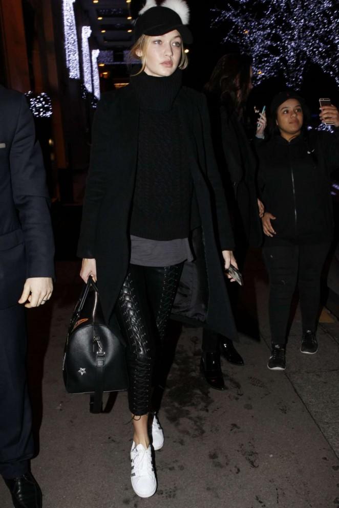 Helo again Gigi! The model traipsed about Paris earlier this week in adidas Original Superstar sneaks.