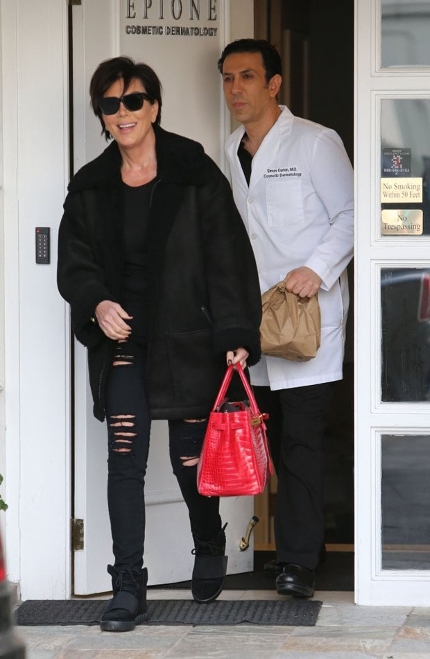 Kris Jenner kept the skin right and tight for a derm appointment rocking her adidas Yeezy Boost 750 ' Black'.