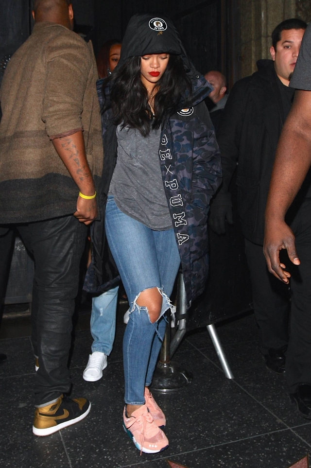 Rihanna was spotted in Hollywood keeping a low profile in a Puma x Bathing Ape Evospeed FC Jacket and Puma x Alife R698 sneaks.