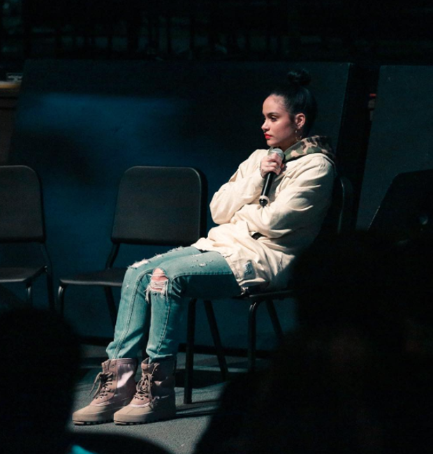 Our favorite Bay Area songstress, Kehlani, went back to her roots by speaking to local kids about her journey.  While she was doing some good we peeped her sneak game: hello,  adidas  Yeezy 950.
