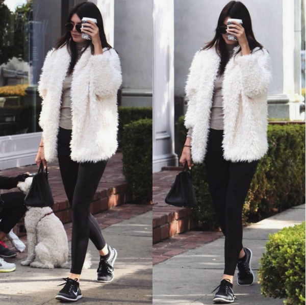 Kendall Jenner grabbed a cup of Joe in the chilly LA streets in Nike Flyknits and a $60 Express Sherpa Wedge Coat.