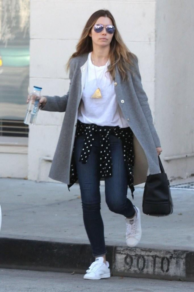 Jessica Biel did the polka dot thing (very cute, might we add) wearing Adidas Stan Smith Sneakers.