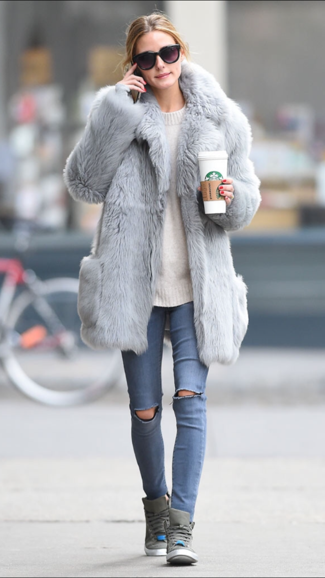 Olivia Palermo,the goddess strolled around NYC wearing Max&Co Canvas Trainers in Khaki Green.