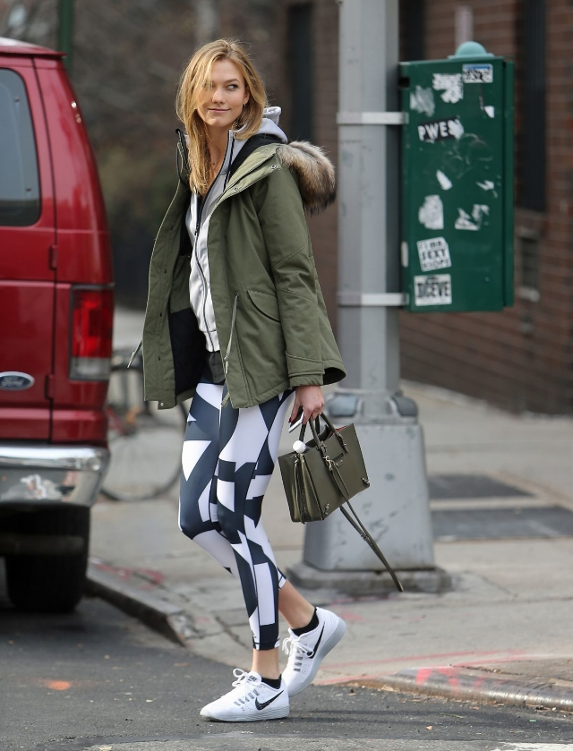 Hey Karlie!  Ms. Kloss was spotted in g-mode this weekend wearing  Nike  Lunartempo runners and  Adidas  Ultimate High-Rise Climalite Leggings.