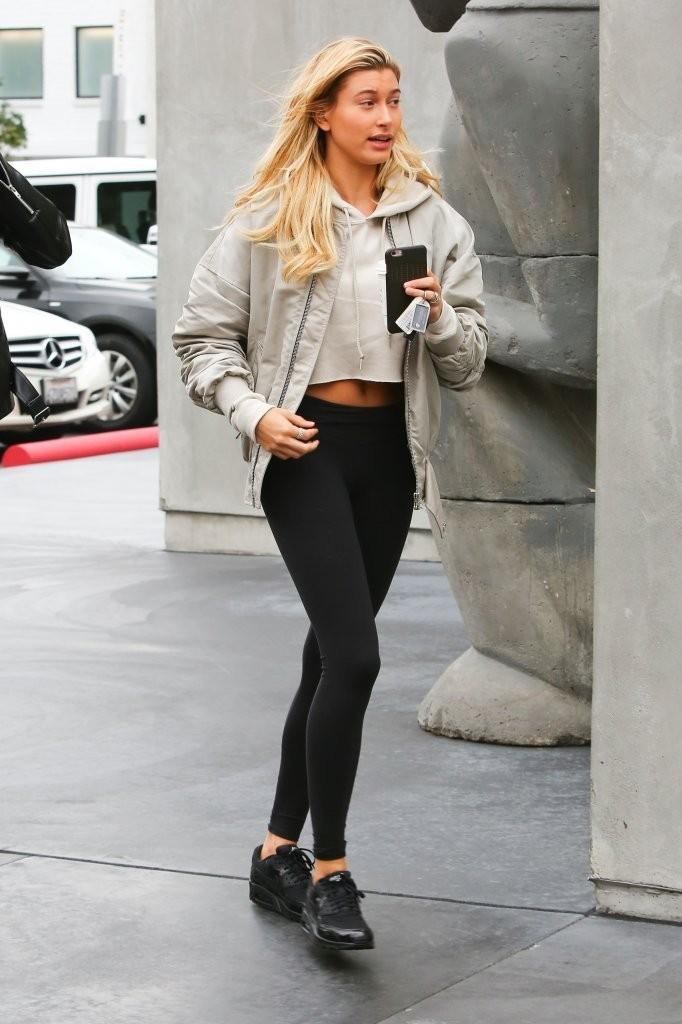 Hailey Baldwin  was spotted out and about wearing  Nike  Air Max 90 Sneakers and  Alo Yoga Leggings  in Black.