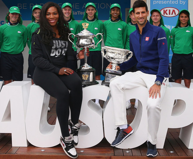 Serena Williams was all smiles with a fellow champ in the Air Jordan 1 Mid White/Black-Red