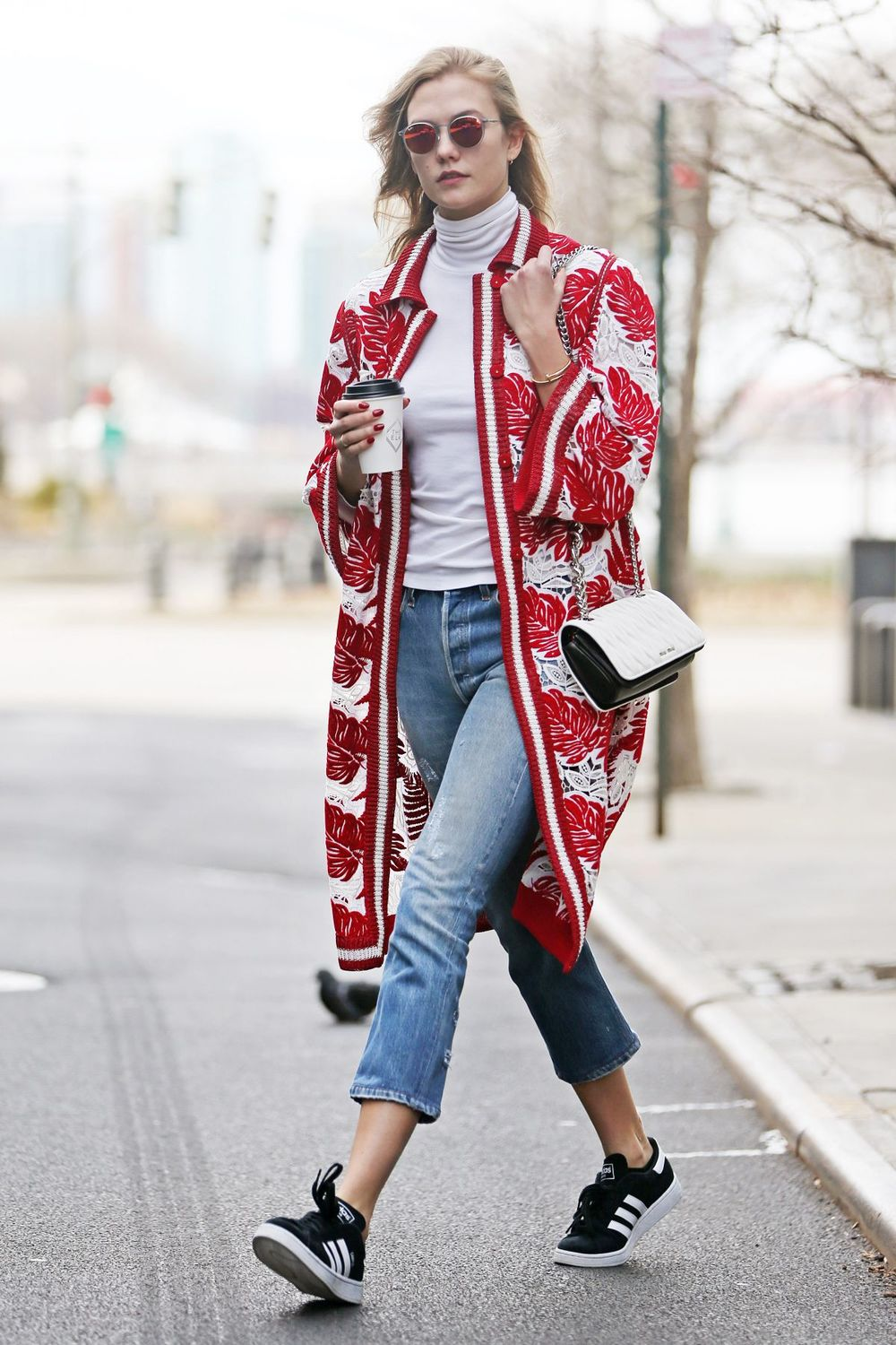 Um, hi Karlie Kloss!  The model returned to our recap wearing Adidas Campus Sneakers and a colorful cardigan from the Ermanno Scervino Spring 2016 collection.