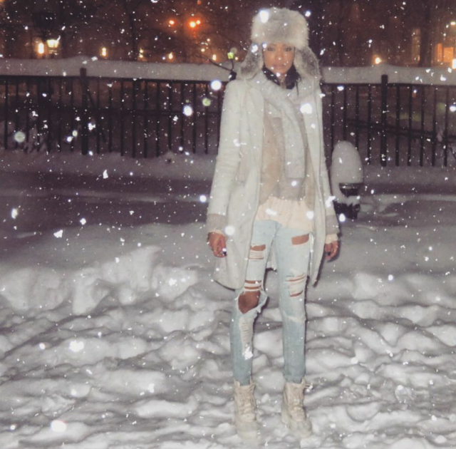 Chanel  Iman didn't let #Snowzilla keep her from bringing Sneaker Style to those NYC streets in the  Yeezy 950 Boot .