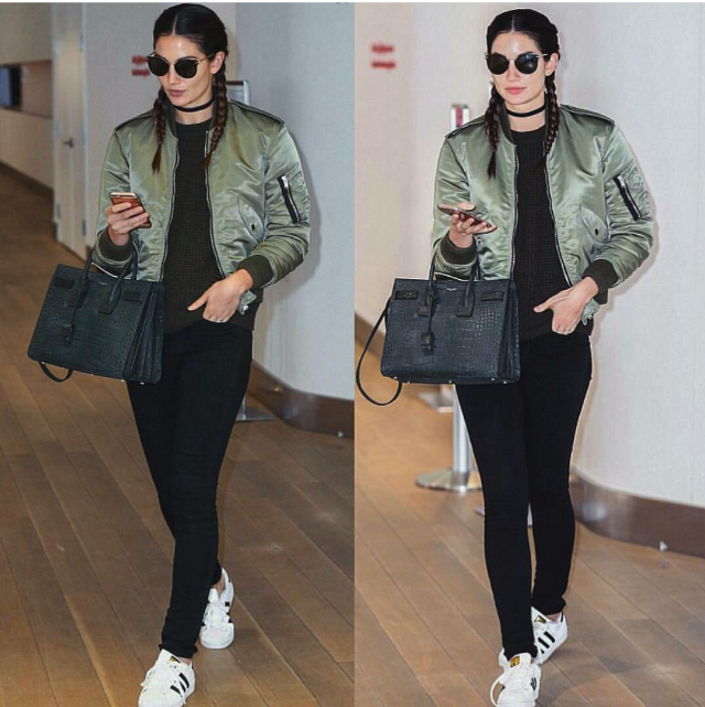 Lily Aldridge kept her Three Stripe game on point in an olive bomber jacket and a pair of classic Superstar 80s.