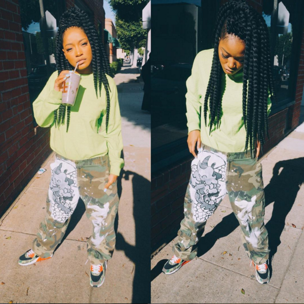 Keke Palmer had to pause and pull her pants up, but she was giving all the good 90s vibes in Nike Air Max 90 PRM 'Atmos'.
