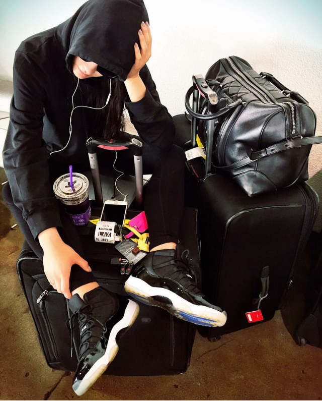 Travel is exhausting.  Just ask Shay Mitchell. The actress snapped a shot after arriving at LAX.  At least her AJ11s are cleeeeaaan!
