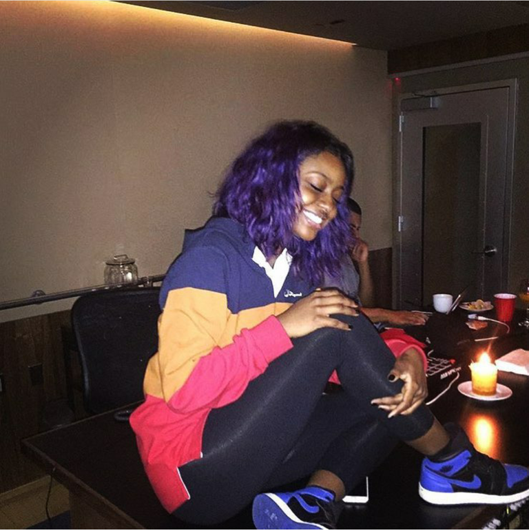 Singer Justine Skye was all smiles as she carted out new tunes inthe studio.  Pretty sure those AJ1s were a good luck charm.