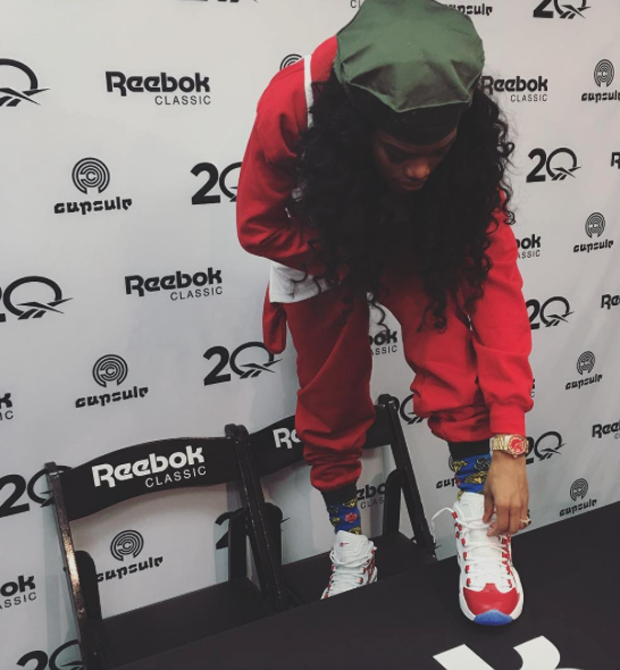 Mama Bear Teyana Taylor kept it cute in the Reebok Question.