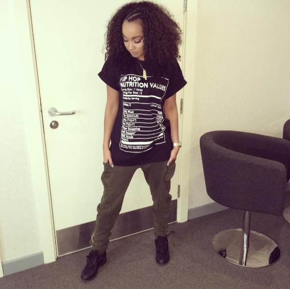 Little Mix singer Leigh-Anne Pinnock kept it cute and paid homage to the hip-hop heads in the UK in a pair of Chanel CC Leather Sneakers and a Hip-Hop Nutrition t-shirt.  You can find a similar shirt HERE.