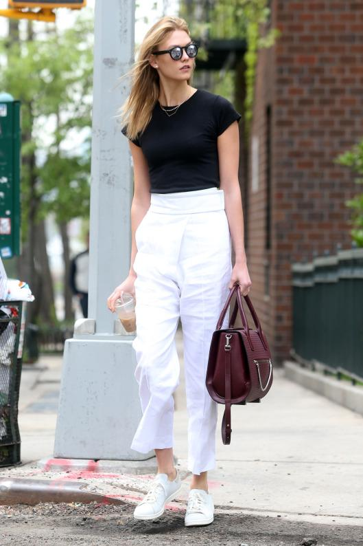 Karlie Kloss wearing strutted tall in NYC wearing one of her faves:  Adidas Originals Stan Smith Deconstructed Sneakers.