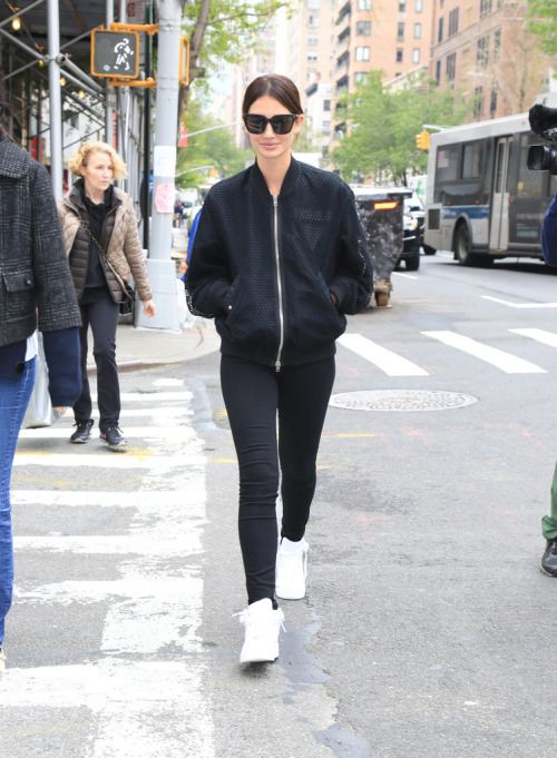 Lily Aldridge made her way through the Big Apple over the weekend in Nike Air Force 1 Ultra Flyknit Sneakers in White/White/Pure Platinum and a chic Alexander Wang Net and Shell Bomber Jacket.