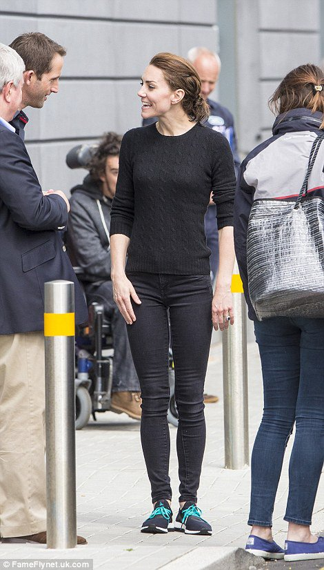 Why hello Duchess! Kate Middleton makes her first appearance in our gallery as she opted for casual comfort in all black and a pair of adidas Pure Boost X sneakers.