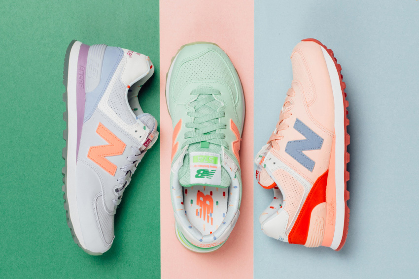 From Left to Right:  NB WMNS 574 'Mirage Purple' ,  NB WMNS 574 'Seafoam' ,  NB WMNS 574 'Shell Pink'  - Image: New Balance