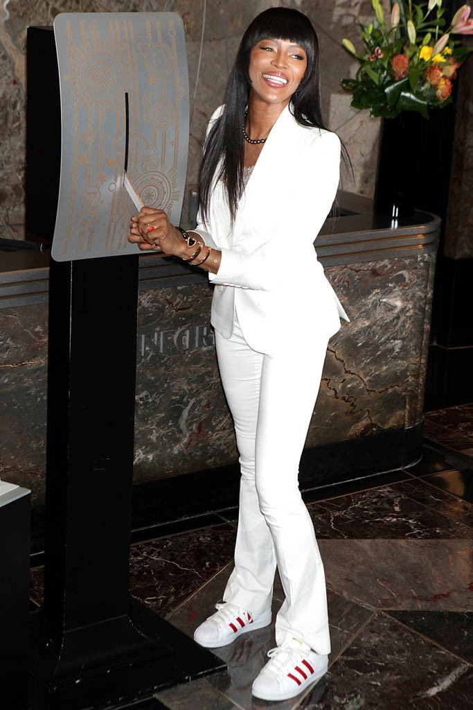 Model Behavior: Naomi Campbell flipped the switch on the Empire State Building this week in a pair of red/white adidas Superstar sneakers and a white two-piece suit.