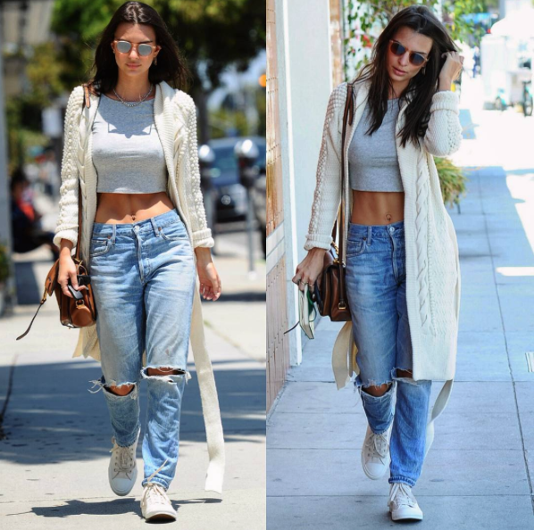 Emily Ratajowski showed off her casual street style (and those killer abs) in distressed boyfriend jeans, a midi crop top, and a pair of Converse Chuck Taylor Classics in Nude.