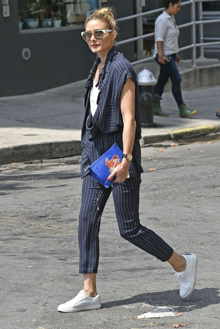 Olivia Palermo Does Pinstripes in Kenneth Cole 'Kam ...
