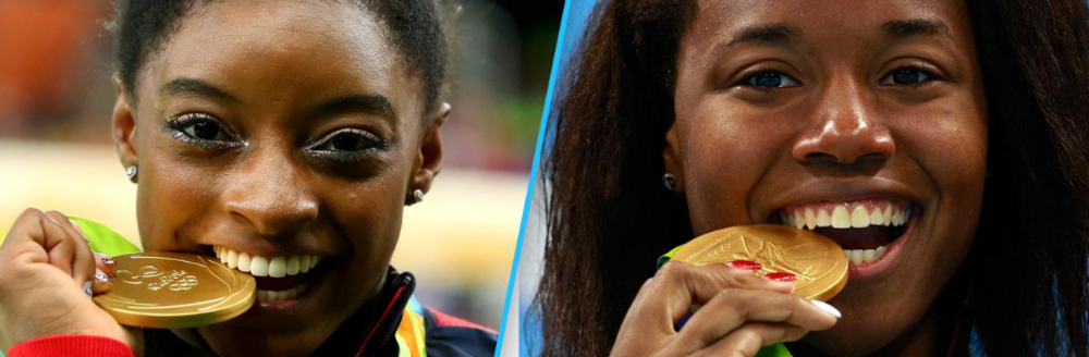 Image: Getty (Simone Biles - Left; Simone Manuel - Right)