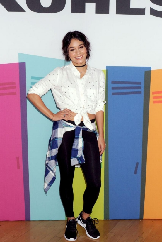 Vanessa Hudgens kicked off the school year with Kohl's in Nike Roshe One sneaks, So Perfectly Soft button up shirt in 'White Dot', and So Side Zip Loungewear Leggings.