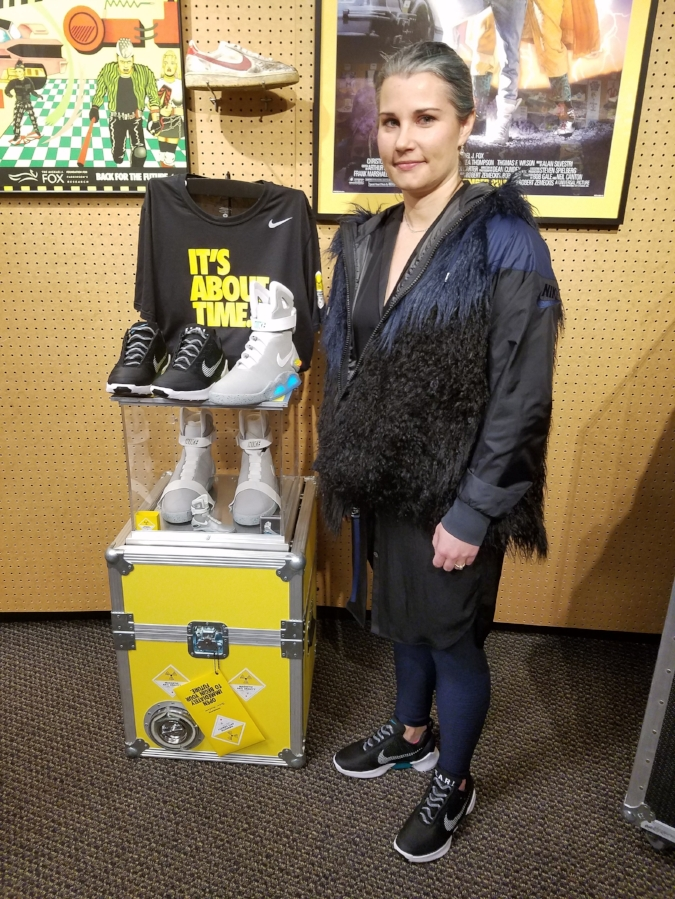 Photo: CNKDaily; Pictured: Nike Senior Innovator, Tiffany Beers, with the Nike Mag and Nike HyperAdapt 1.0