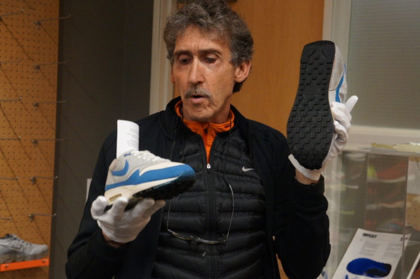 """This was the first Air Max shoe from 1987.  It was a very difficult technical feat to take this airbag and make it visible, make it really like walking on air. This changed everything for Nike...it [morphed] Nike from a shoe company to a brand."" - DNA Senior Director, Rick Shannon"