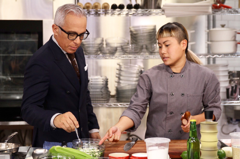 Caodan with Food Network's Cooks vs. Cons host, Geoffrey Zakarian.  Image courtesy of C. Tran and Food Network
