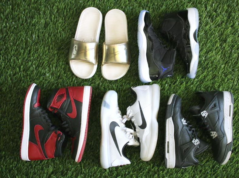 "Top: Nike Benassi Solarsoft Slide in Metallic Gold, Air Jordan 11 Retro ""Space Jam""  Bottom: Air Jordan 1 Retro ""Bred"", Nike Kobe 10, Air Jordan 4 Retro ""Cookies and Cream."""