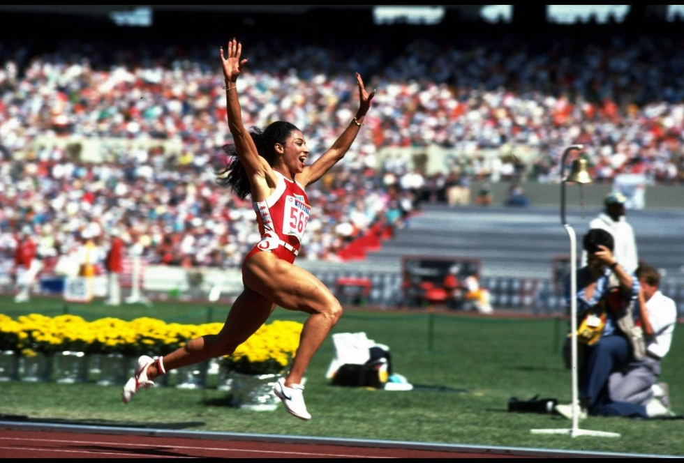 Florence Griffith Joyner wins the 100m during the 1988 Olympic Games in Seoul, Korea. (Photo Credit: Allsport UK /Allsport)