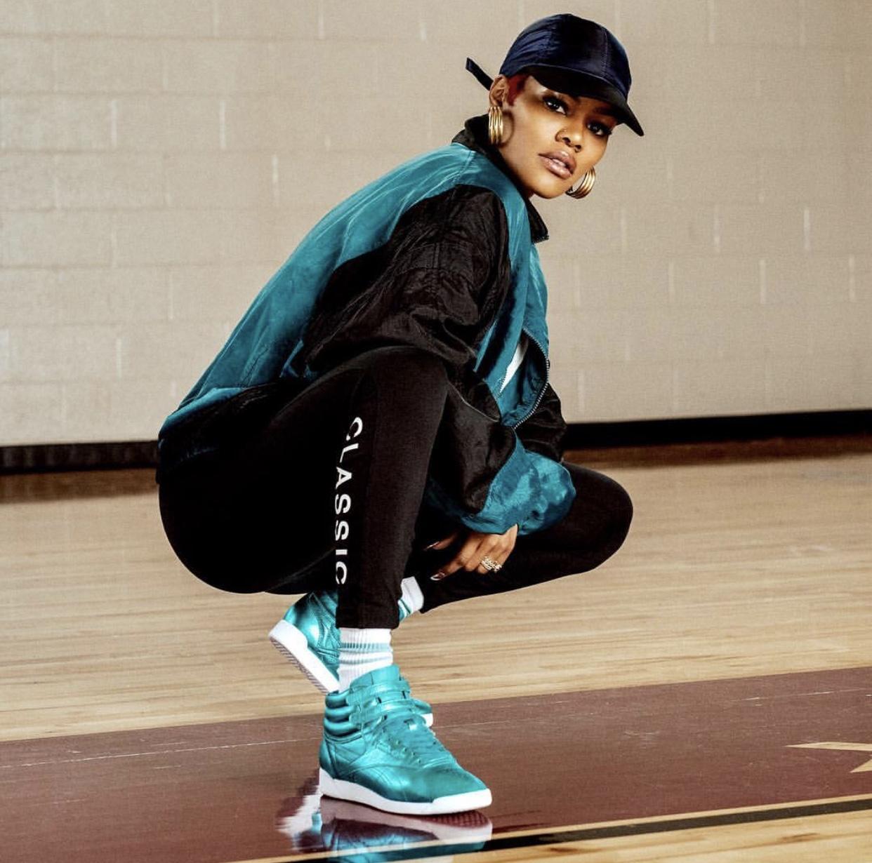 def630b5cdc Teyana Taylor Keeps it Fun Wearing This Reebok Freestyle Hi Metallic — CNK  DailyChicksNKicks