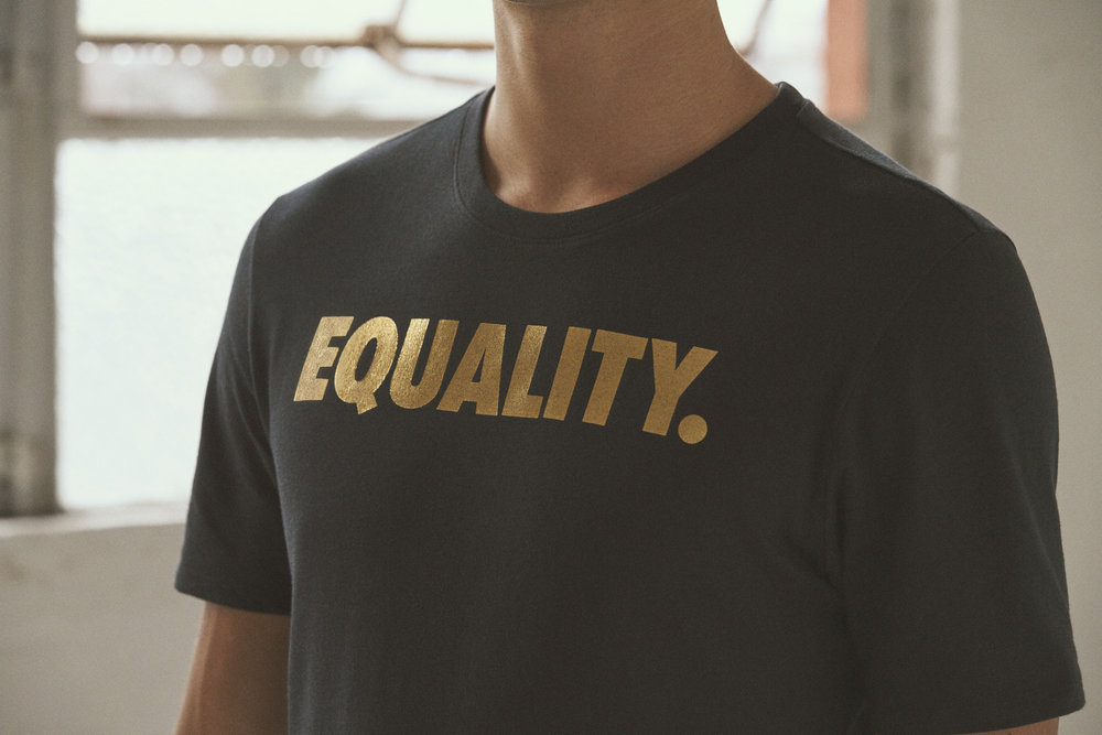 EQUALITY Tee: It comes in black with gold lettering and white with gold lettering. It will be available in men's, women's and kids' sizing on January 15. Additionally, an EQUALITY hat and socks will also release this day.