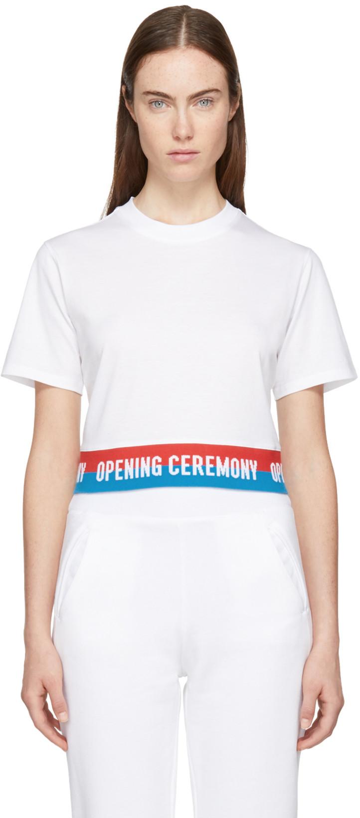 Opening Ceremony - White Cropped Elastic Logo T-Shirt                $80.00