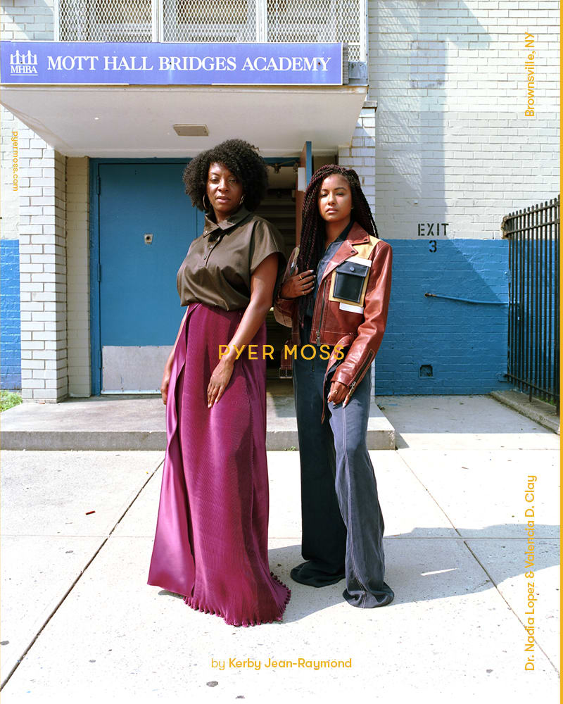 Nadia Lopez and Valencia D. Clay for Pyer Moss Fall 2018. Photo: Rubberband and Kerby Jean-Raymond.