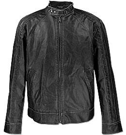 Men's faux leather racer jacket, Buckle.com, $54.95