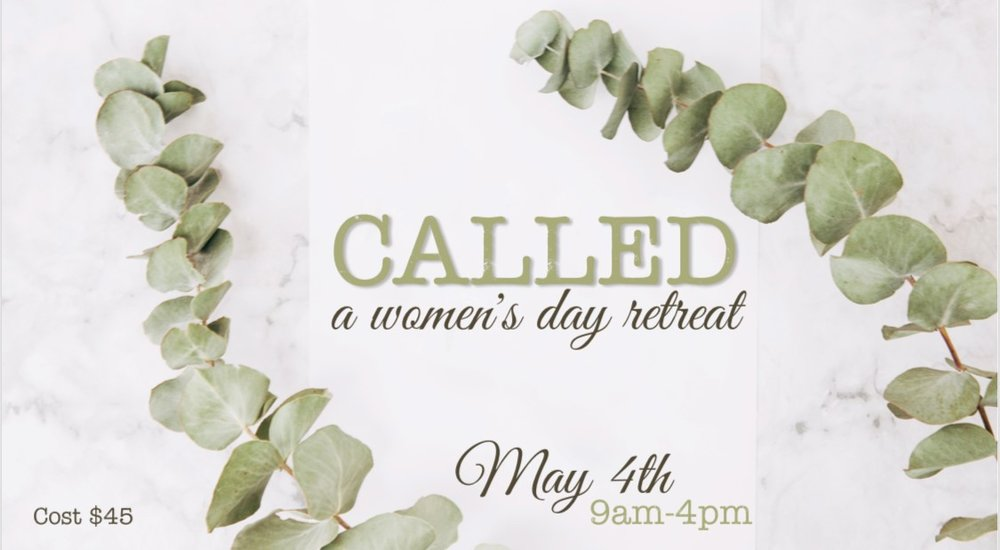 CALLED - WOMEN'S RETREAT   MAY 4   Mark your calendars for CALLED - A Day Retreat for Women. Join us on May 4th, 9am-4pm for a full day of gospel community, great food, speakers and life stage specific breakout sessions. We will also spend the afternoon serving Fort Bend County together. You will not want to miss this unique event designed for YOU! Registration opens April 1st. $45/pp
