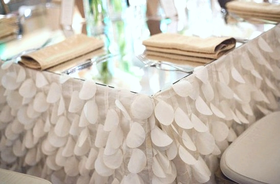 TEXTURED White Ruffle Dots Table Linen with Gold Napkins for a Beautiful Bridal Luncheon!