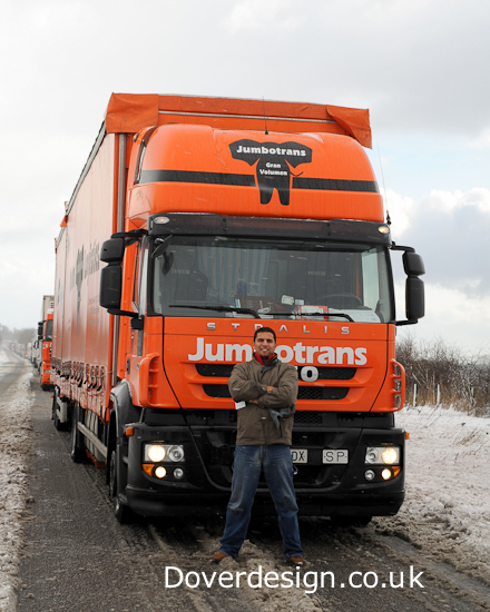 Dover, Kent, Photography - trucks stuck in snow.
