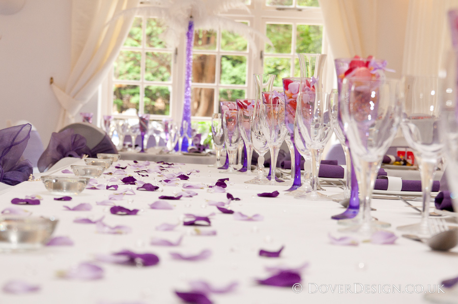 Perfect Wedding tables - Cadbury's purple - Howfield Manor Wedding Photography