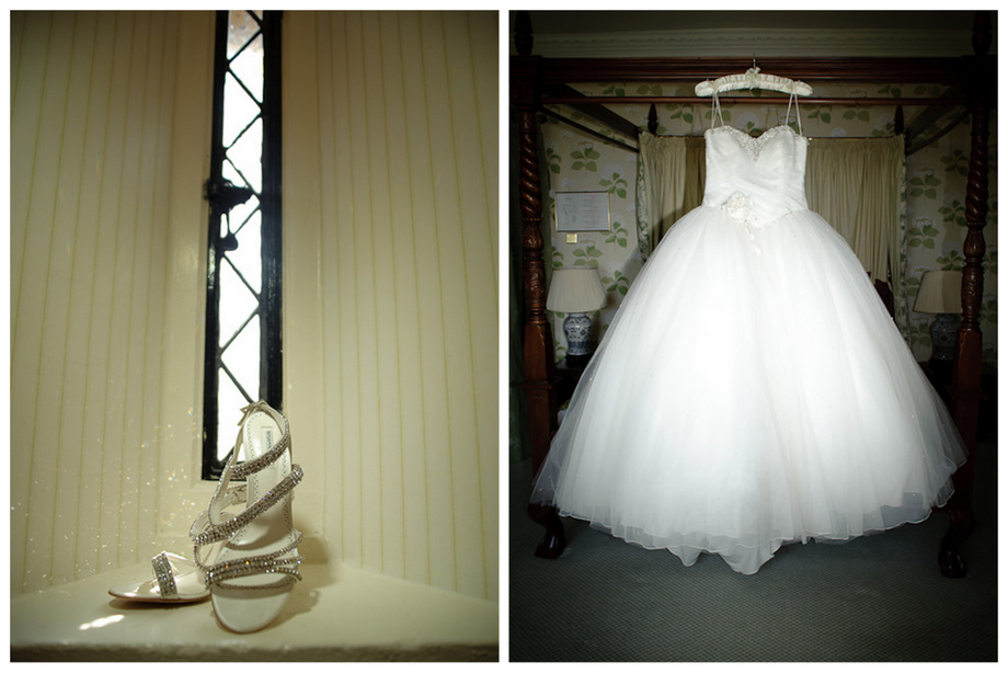 Wedding dress and shoes at Eastwell Manor