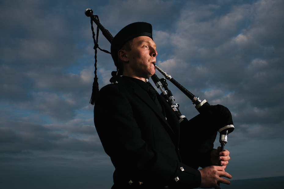 Bagpiper at dusk - Kent Commercial Photography
