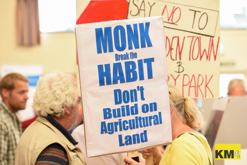 A press image from a protest about a planned lorry park