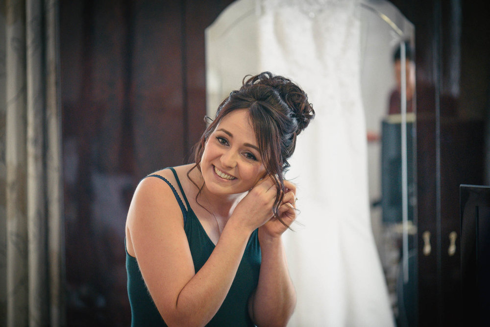 Hadlow Manor Wedding - bride getting ready
